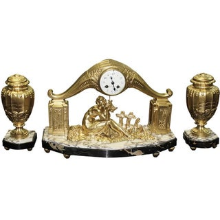 Limousin French Art Deco Gilt Clock Garniture Set