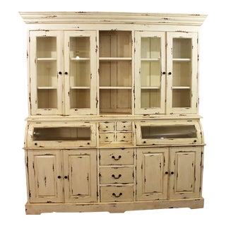 Large Country French Rustic Distressed White Bread Cupboard