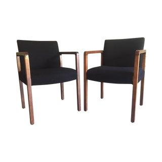 Black Tweed Arm Chairs - A Pair