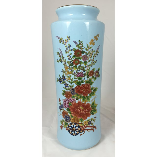 Chinoisere Blue Vase Made in Japan - Image 2 of 5