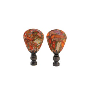 Orange Sea Sediment Lamp Finials - A Pair