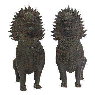 Antique Bronze Singha Dragons - a Pair