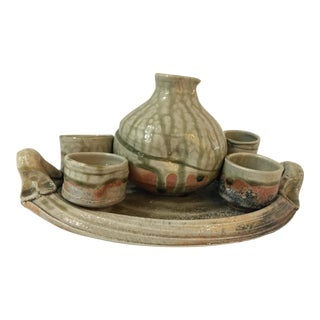 Glazed Ceramic Tray Sake Jug & Set of 4 Cups
