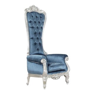 Blue Upholstered Baroque-Style Chair