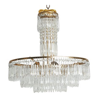 French Hand Cut Crystal and Brass Chandelier