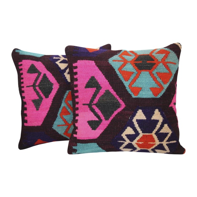 Neon Turkish Kilim Cushions - Pair - Image 1 of 7