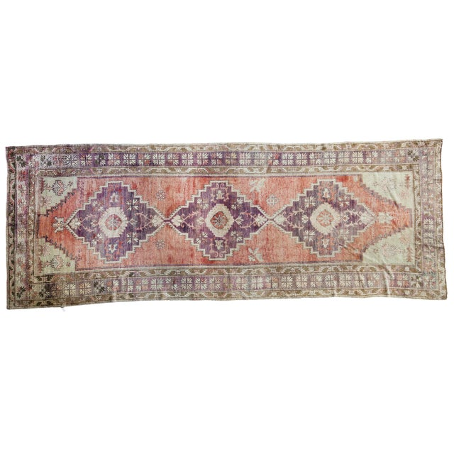 "Distressed Oushak Runner - 4'4"" x 11'9"" - Image 1 of 8"
