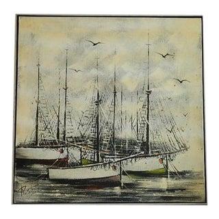Large Vintage Sailboats Painting