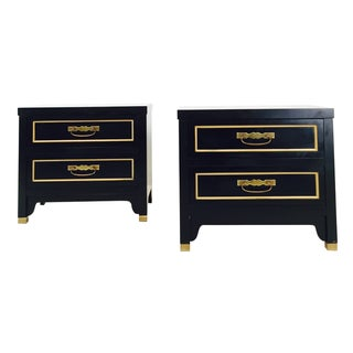 Black Regency Style Nightstands - Pair