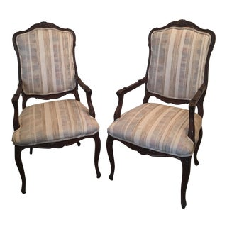 Wood Carved Dining Chairs - A Pair