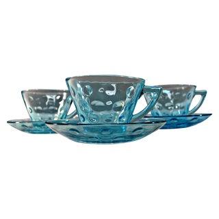 Vintage Aqua Blue Glass Teacup & Saucer - Set of 3