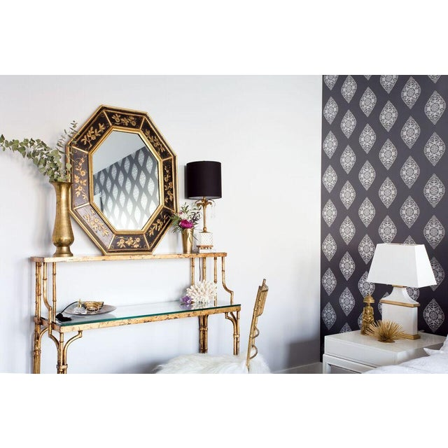 La Barge Vintage Hand Painted Black Gilded Mirror - Image 8 of 8