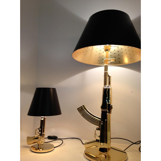 philippe starck for flos italia gold gun table lamp chairish. Black Bedroom Furniture Sets. Home Design Ideas