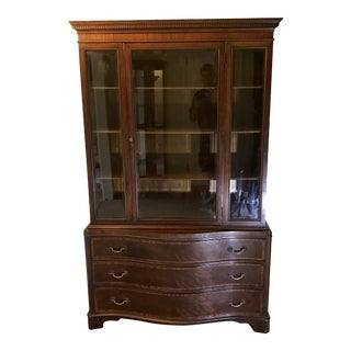Inlaid Antique Mahogany Breakfront China Cabinet