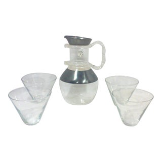 Dorothy Thorpe Lucite Handled Carafe Pitcher and Martini Glasses-Set of Five