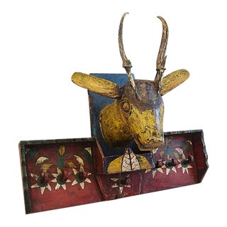 Vintage Funky & Fun Folk Art Hand-Painted Deer Coat/Sweater Hat Rack