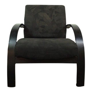 Black Upholstered & Painted Bentwood Armchair