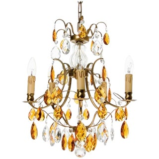 Baroque Chandelier, 5 Cognac Electrical Candles
