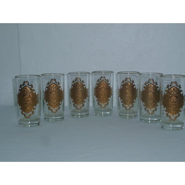 Hollywood Regency Gold Gilt Hi Ball Glasses - S/7 - Image 4 of 6