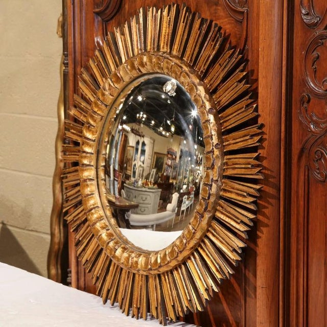 Mid-Century French Sunburst Mirror with Gilt Finish & Convex Mirror - Image 2 of 7