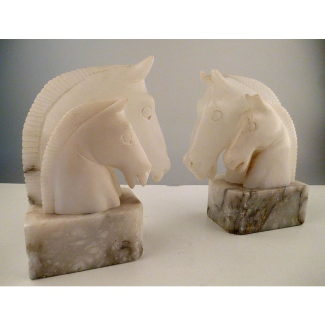 Alabaster Horse Bookends on Marble Bases - Pair - Image 3 of 11