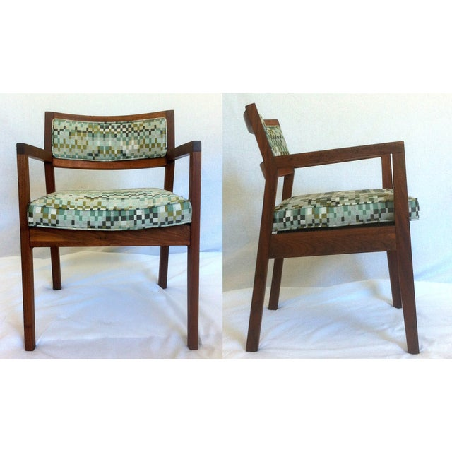 Mid-Century Walnut Upholstered Armchairs - A Pair - Image 2 of 7