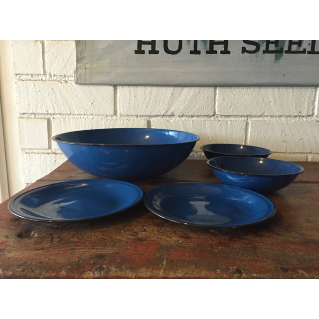 Blue and Black Rim Enamelware Set - 5 Pieces - Image 2 of 5