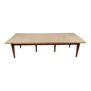 1960s Custom Rectangular Travertine & Mahogany Cocktail Table