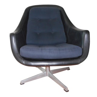 Mid-Century Swivel Leather Chair