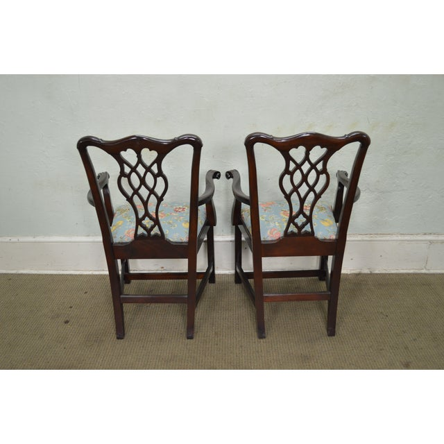 Councill Craftsman Solid Mahogany Chippendale Style Dining Chairs - Set of 8 - Image 4 of 10