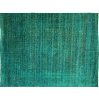 Peacock Blue-Green Oriental Wool Rug - 9' x 12'
