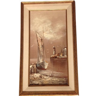 Mid-Century Nautical Oil Painting