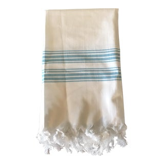 Turkish White & Turquoise Cotton Fouta