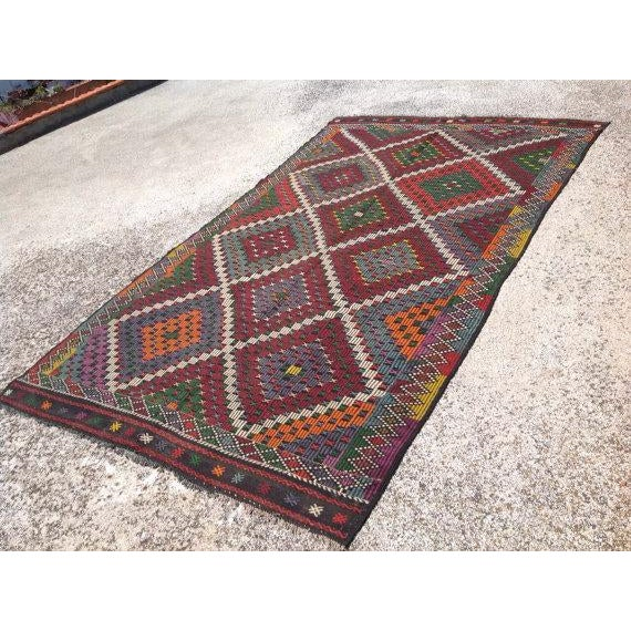 "Vintage Turkish Kilim Rug - 6'9"" X 11'4"" - Image 3 of 6"
