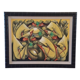 Framed Abstract Tropical Painting