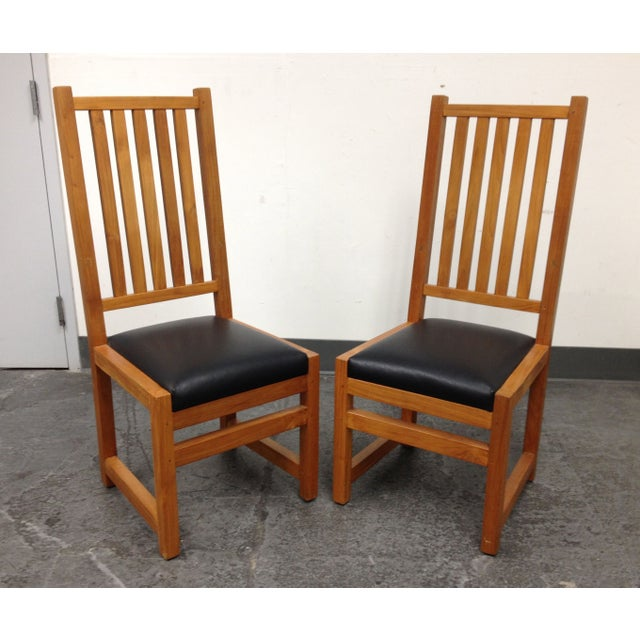 Custom Designed Teak Chairs - A Pair - Image 2 of 7