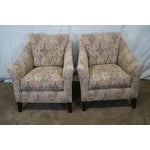 Image of Ethan Allen Upholstered Lounge Chairs - Pair