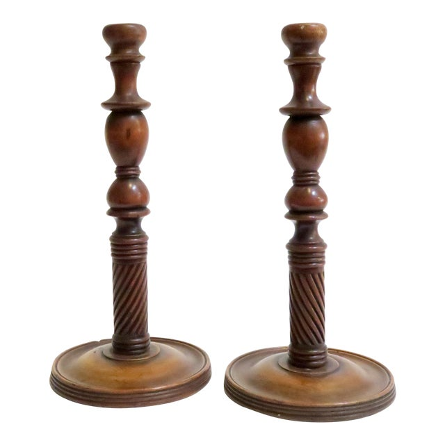 Carved Wood Candle Holders - A Pair - Image 1 of 6