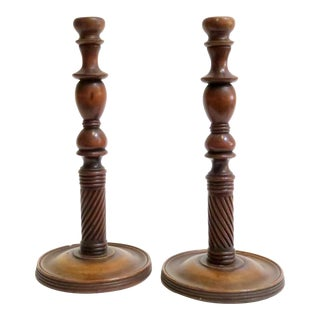Carved Wood Candle Holders - A Pair