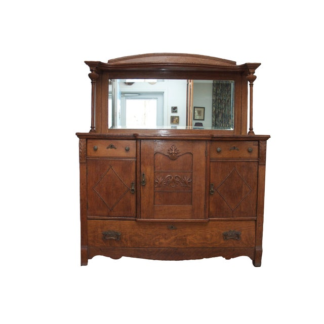 Image of Vintage Mirrored Breakfront Cabinet