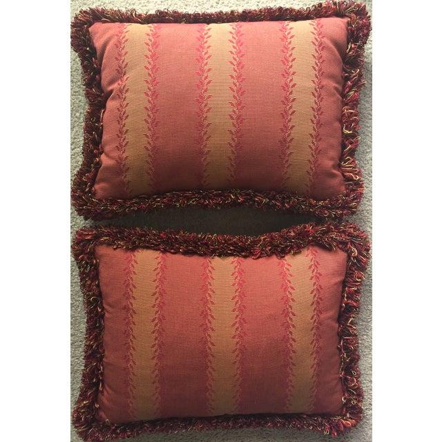 Image of Vintage Orange & Red Silk Fringe Pillows - A Pair