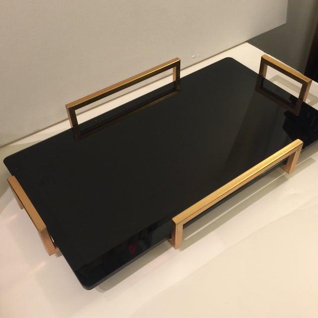 Image of Gold Metal Handled Black Beveled Glass Tray