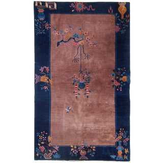 "1920s Handmade Antique Art Deco Chinese Rug - 4'1"" x 6'9"""