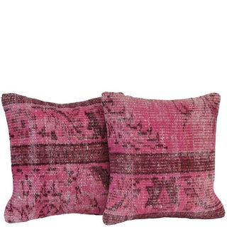 Pink Handmade Over-Dyed Pillow Covers - Pair