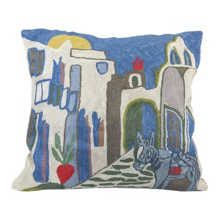 Handmade Abstract Greek Islands Crewel Work Pillow