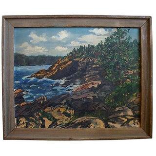Rocky Cove Seascape Plein Air Oil Painting