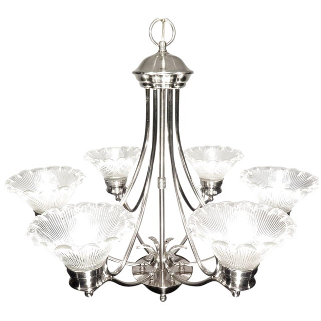 Stainless Steel & Halophane Chandelier - Image 1 of 7