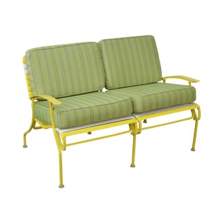 Mid Century Modern White & Yellow Vinyl Strap Patio Settee w/ Cushions