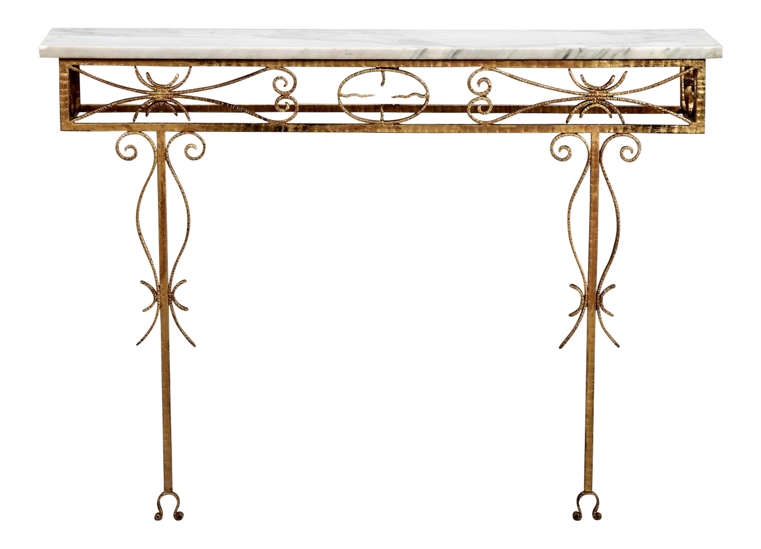 Spanish Wall Hung Console With Gilt Metal And Marble Top