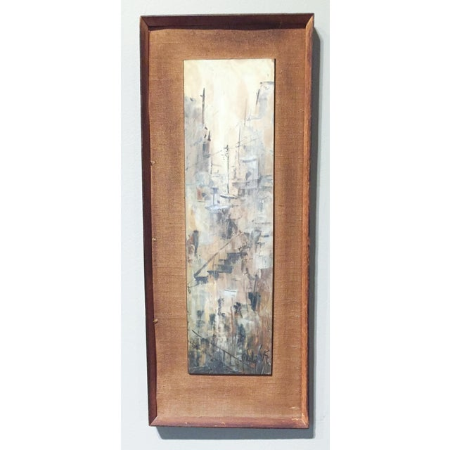 Image of Signed Mid-Century City Scape Oil Painting